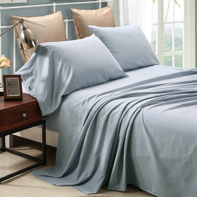 4 Piece Sheet Set Size: King, Color: Sky Blue