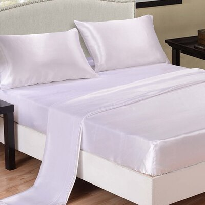 Honeymoon 4 Piece Bed Sheet Set Color: White, Size: King
