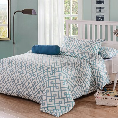 Honeymoon 3 Piece Duvet Cover Set Color: Aegean Blue