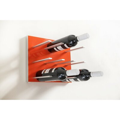 9 Bottle Wall Mounted Wine Rack Finish: Electric Orange