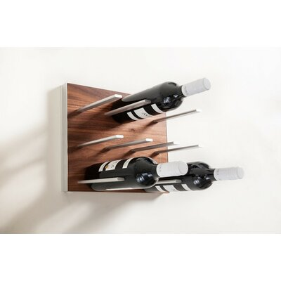 9 Bottle Wall Mounted Wine Rack Finish: Walnut