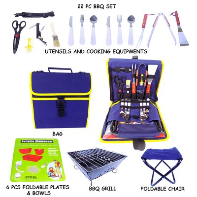 22 Piece BBQ Grill Tool Set HD115-B