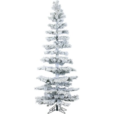 Hillside Slim Pine 7.5' Green Artificial Christmas Tree with 350 LED String Multi-Color Lights with Flocked Branches and Stand