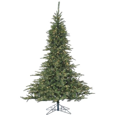 Noble Fir 7.5' Green Artificial Christmas Tree with 700 LED Multi-Colored String Lighting with Stand