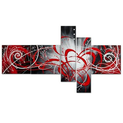 Modern Abstract Boomerang 5 Piece Painting on Canvas Set OL1007