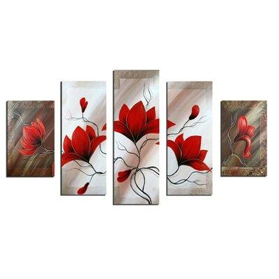 'Modern Flower' 5 Piece Painting on Canvas Set