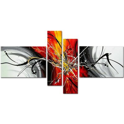 Modern Splash 4 Piece Painting on Canvas Set OL164