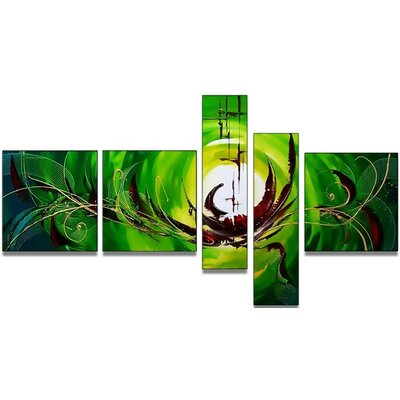 Modern Abstract 5 Piece Original Painting on Canvas Set OL171