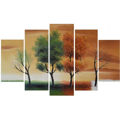 'Four Seasons Nature Tree' 5 Piece Painting on Canvas Set