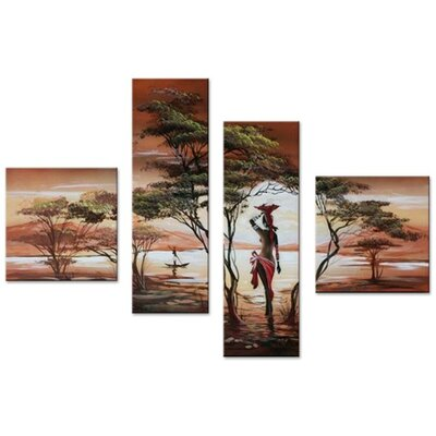 'African Woman' 4 Piece Painting on Canvas Set BLMT6991 42511540