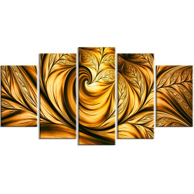 'Golden Dream Abstract' 5 Piece Graphic Art on Wrapped Canvas Set