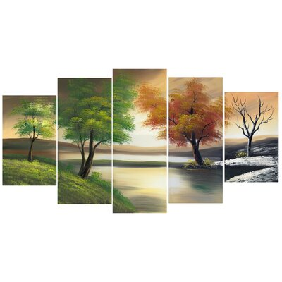 5-Piece Changing Seasons on the Lake Canvas Painting Set