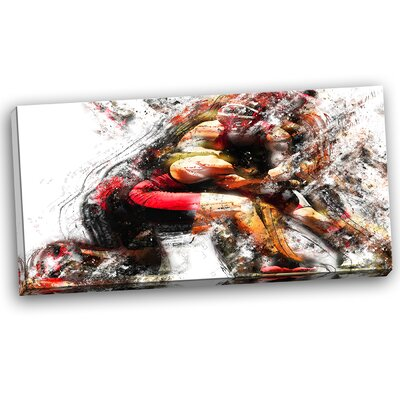 Wrestling in Action Painting Print on Wrapped Canvas PT2555-32-16