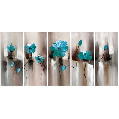 Turquoise Green Modern Flower Art 5 Piece Painting Print on Wrapped Canvas Set PT1104-401-GRN