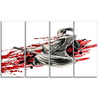 Japan Warrior - Japanese 4 Piece Graphic Art on Wrapped Canvas Set