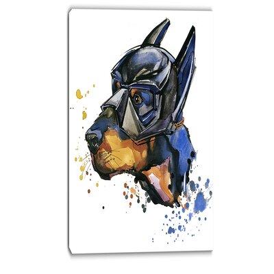 Doberman Superman Animal Graphic Art on Wrapped Canvas Size: 40