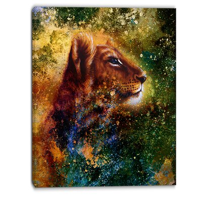 Thoughtful Lion Cub Animal Graphic Art on Wrapped Canvas PT6393-30-40