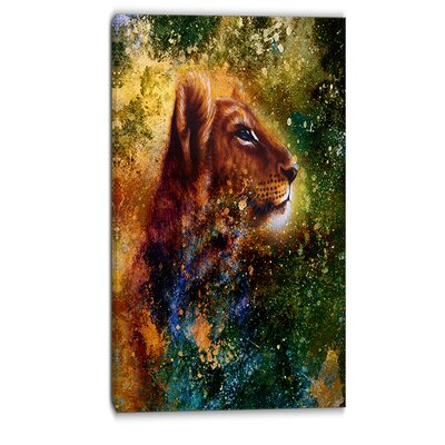 Thoughtful Lion Cub Animal Graphic Art on Wrapped Canvas PT6393-16-32