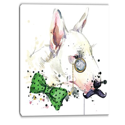 Bull Terrier Dog Animal Painting Print on Wrapped Canvas Size: 40