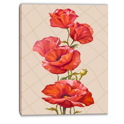 Bunch of Poppies Vector Floral Painting Print on Wrapped Canvas Size: 40