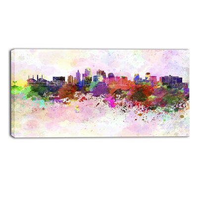 Kansas City Skyline Cityscape by Designart Painting Print on Wrapped Canvas Size: 16