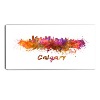 Calgary Skyline Cityscape by Designart Painting Print on Wrapped Canvas Size: 30