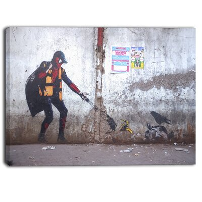 Spiderman in Dharavi Slum Street Graphic Art on Wrapped Canvas PT6657-40-30