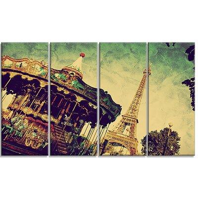 Eiffel Tower Retro Style Landscape 4 Piece Photographic Print on Wrapped Canvas Set PT6701-271