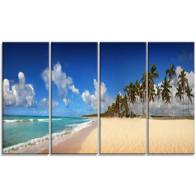 Tropical Exotic Beach Landscape 4 Piece by Designart Photographic Print on Wrapped Canvas Set