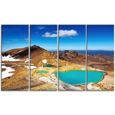 New Zealand Emerald Lakes 4 Piece by Designart Photographic Print on Wrapped Canvas Set
