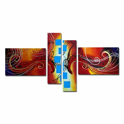 Modern Abstract 4 Piece Original Painting on Canvas Set OL1010
