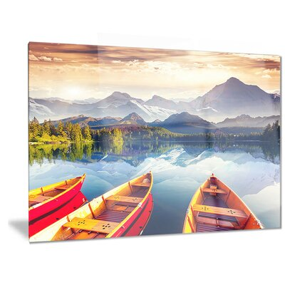Metal 'Boats Heading to Lake' Photographic Print Size: 30