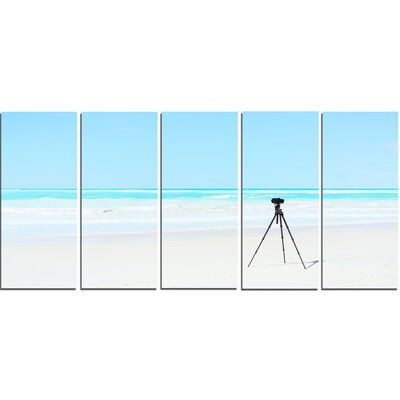 Digital Camera and Tripod on Beach 5 Piece Photographic Print on Wrapped Canvas Set PT11403-401
