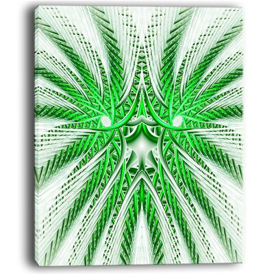 Glowing Green Fractal Flower in White Graphic Art on Wrapped Canvas PT12086-30-40