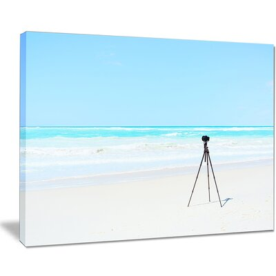 "Digital Camera and Tripod on Beach Photographic Print on Wrapped Canvas Size: 30"" H x 40"" W x 1"" D PT11403-40-30"