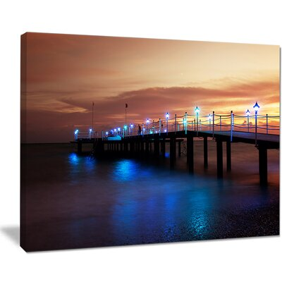Blue Waters and Bridge at Sunset Sea Bridge Photographic Print on Wrapped Canvas PT10341-20-12
