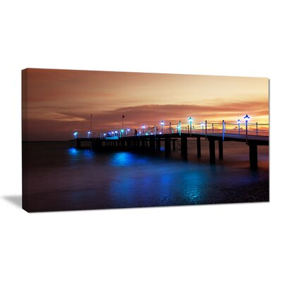 Blue Waters and Bridge at Sunset Sea Bridge Photographic Print on Wrapped Canvas PT10341-32-16