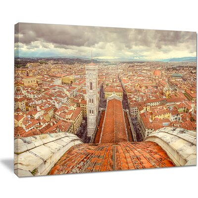 Florence View from Duomo Cathedral Cityscape Photographic Print on Wrapped Canvas