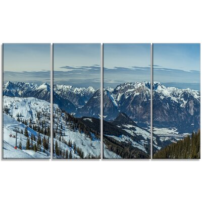 'White Ski Slope Panoramic View' 4 Piece Photographic Print on Wrapped Canvas Set PT11789-271