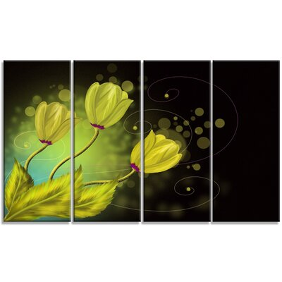 'Golden Flowers Greeting Card' 4 Piece Graphic Art on Wrapped Canvas Set PT9666-271