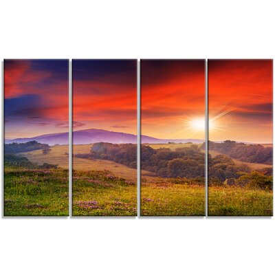 'Cold Morning Fog with Red Hot Sun' 4 Piece Wall Art on Wrapped Canvas Set PT9635-271