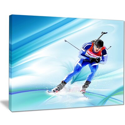 'Extreme Male Skier' Graphic Art on Wrapped Canvas PT8431-40-30
