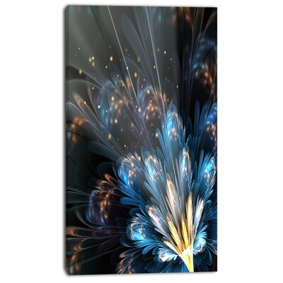 """'Blue Flower with Golden Details' Graphic Art on Wrapped Canvas Size: 20"""" H x 12"""" W x 1"""" D PT8856-12-20"""