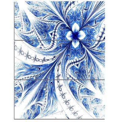 Light Blue Fractal Flower Pattern Digital - 3 Piece Graphic Art on Wrapped Canvas Set PT12180-3PV