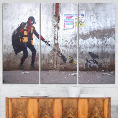 'Spiderman in Dharavi Slum' Photographic Print Multi-Piece Image on Wrapped Canvas PT6657-3P