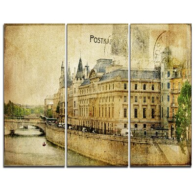 Old Parisian Cards - 3 Piece Graphic Art on Wrapped Canvas Set PT6864-3P