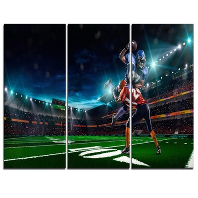 American Football Player - 3 Piece Graphic Art on Wrapped Canvas Set PT7298-3P