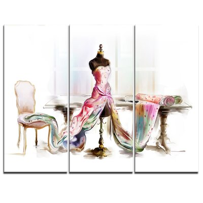 Dressed Tabletop Mannequin - 3 Piece Graphic Art on Wrapped Canvas Set PT7318-3P
