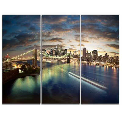New York Under Cloudy Skies - 3 Piece Graphic Art on Wrapped Canvas Set PT7684-3P