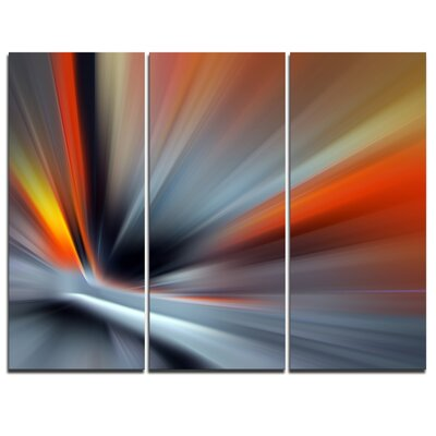 Rays of Speed Large Lines - 3 Piece Graphic Art on Wrapped Canvas Set PT8129-3P